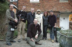 Byron Jones with Pat Andrews and the production crew of 'The Psychic Detective' at Cotchford Farm