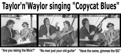 Contact strip of photos of Mick Taylor and Rollin'Stoneds own Mick Waylor with his old Gibson SG